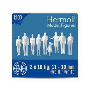 Hermoli 1:100 staande figuren wit 20 stuks