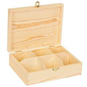 Blank houten grenen theekist 6-vaks
