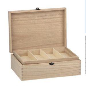 KIst hout met inzet 4 vaks