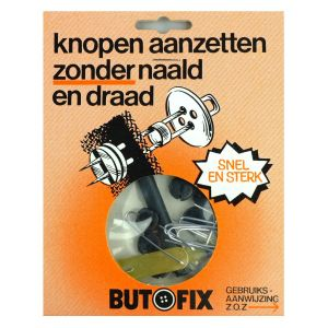Butofix knopen aanzet zonder naald en draad