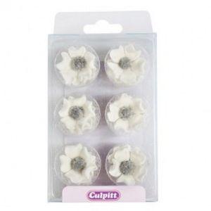 Culpitt Suikerdecoratie Anemonen wit 12st