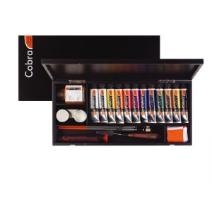 Cobra Artist watervermengbare olieverf explore box 12x40ml + assessoires
