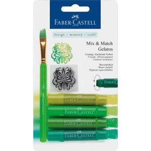 Faber Castell Mix & Match Gelatos & Clear Stamp Set Green