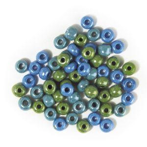Glaskralen  5,4mm mix blauw/groen