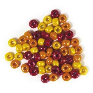 Glaskralen  5,4mm mix geel/rood