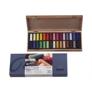 Houten kist met 30 halve pastels