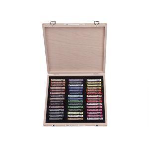 Houten kist met 45 pastels