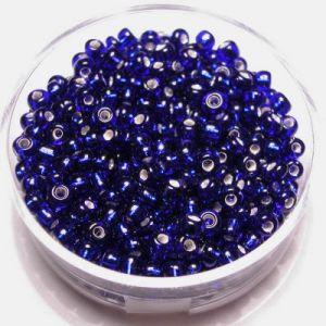 Kralen 2mm zilverkern Donkerblauw