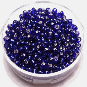 Kralen 2,6mm zilverkern Donkerblauw