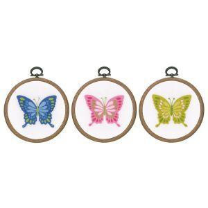 Vervaco borduurkit 3st vlinder