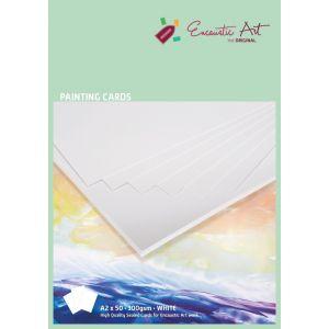 Encaustic papier schilderskaart A2 wit per vel