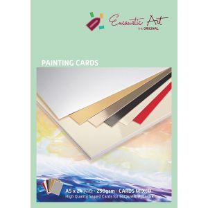 Encaustic papier schilderskaart A5 assorti 24st