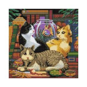 Crystal Art Kit® Canvas collection Cat fishing