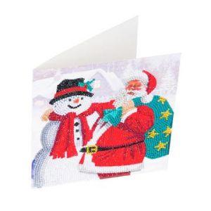 Crystal Art Card Kit Santa and Snowman