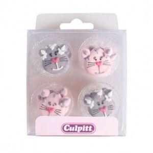 Culpitt Suikerdecoratie Cat pink/purple 12 stuks