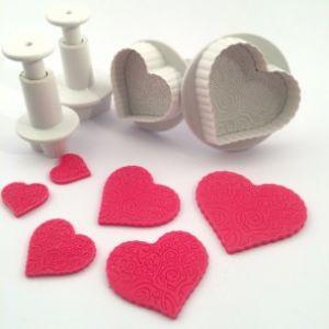 Dekofee plungers Patterned Hearts set van 4