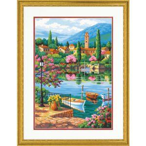 Dimensions Schilderen op nummer 73-91661 Village lake afternoon