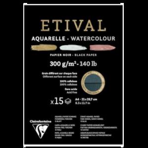 Etival aquarelpapier zwart A4 15 vel 300gr 975318C