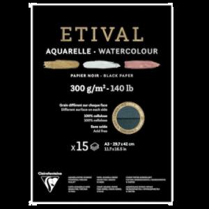 Etival aquarelpapier zwart A3 15 vel 300gr 975319C