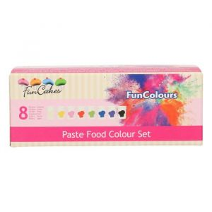 Funcakes funclours paste food clour set à 8 stuks