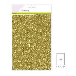 Glitterpapier goud 5 vel