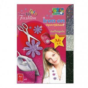 Hotfix Deco fashion glitter transfer 001 goud/zilver/donkerzilver/zwart