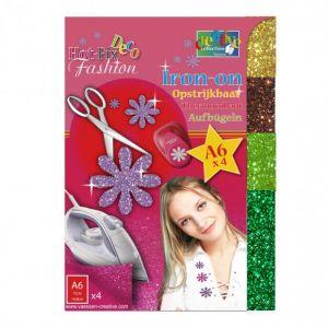Hotfix Deco fashion glitter transfer 004 goud/brons/mint/groen