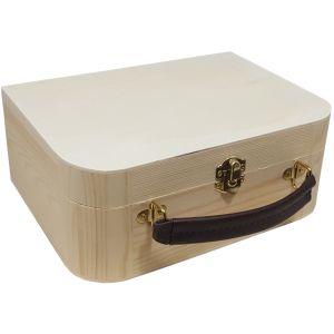 Grenen Kist/koffertje met leren handvat
