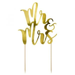 Partydeco cake topper Mr & Mrs goud 1st
