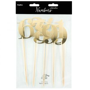 Partydeco cake toppers tafelnummers goud set á 11st