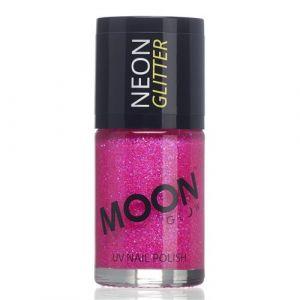 Moon Glow Neon UV nailpolish glitter magenta
