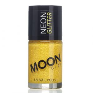 Moon Glow Neon UV nailpolish glitter golden yellow