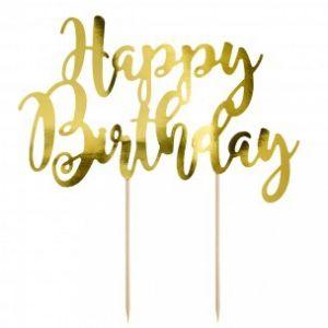Party Deco Cake Topper Happy Birthday gold 22,5cm KTP11-019M