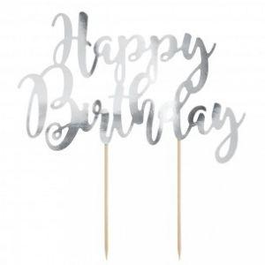 Party Deco Cake Topper Happy Birthday zilver 22,5cm KTP11-018M