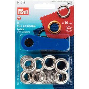 Prym eyelets/zeilringen 14mm zilverkleurig 10 stuks