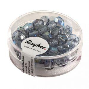 Glas facetkraal 6mm iriserend Grijsblauw