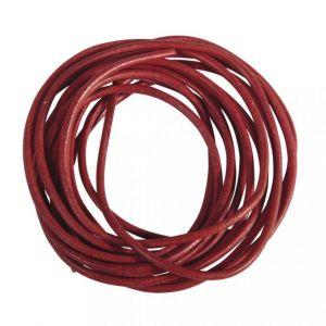 Ronde veter van geitenleer Ø1,5mm rood Rayher 83 018 18