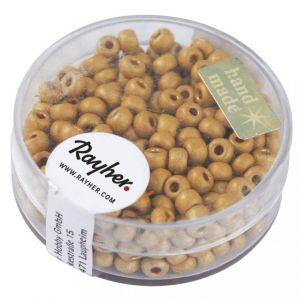 Rocailles metallic 4mm mat goudgeel Rayher 14 316 162
