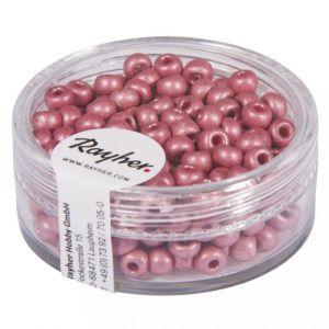 Rocailles metallic 4mm mat roze Rayher 14 316 258