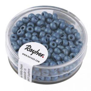 Rocailles metallic 4mm mat azuurblauw Rayher 14 316 374