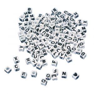 Plastic letterkralen 5x5mm kubus wit 40gr 16 101 02