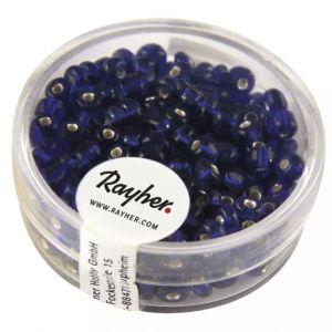 Borduurkralen zilverkern 4mm donkerblauw Rayher 14 300 10