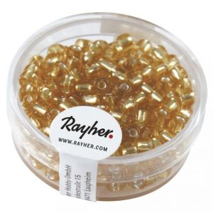 Borduurkralen zilverkern 4mm goud Rayher 14 300 06