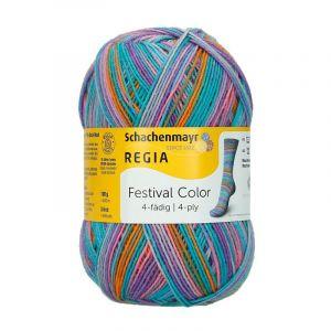 Regia sokkenwol 4-draads 2881 turquoise-paars-oranje gemeleerd 9801-269/2881
