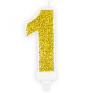Party Deco kaarsje cijfer 1 goud