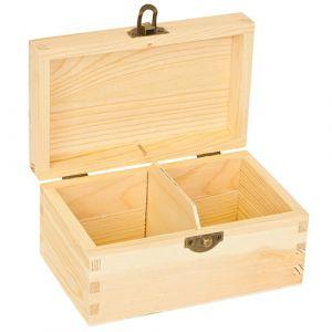 Blank houten grenen theekist 2-vaks