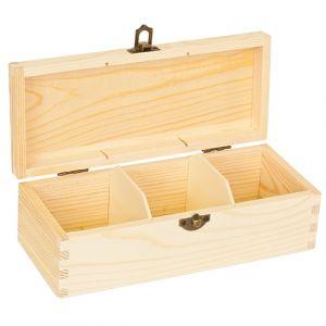 Blank houten grenen theekist 3-vaks
