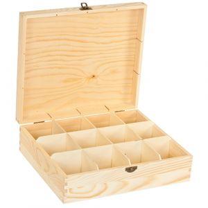 Blank houten grenen theekist 12-vaks