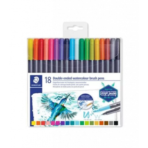 Staedtler Double-ended watercolour brush pens 18st 3001 TB18