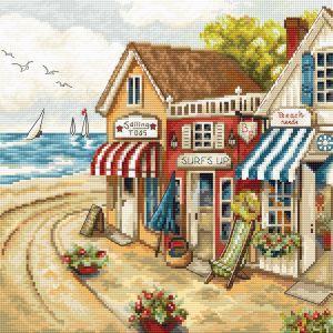 Letistitch borduurpakket 0905 Shops by the sea leti-0905